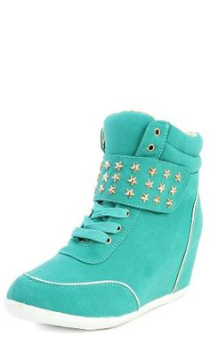 Amondi-1 Star Studded Wedge Sneakers TEAL Db Dk Fashion to enter online shopping or purchase click on Amazon right here http://www.amazon.com/dp/B00JEYYDP6/ref=cm_sw_r_pi_dp_RMFWtb0387E71Y0W