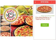 CiCi's Pizza Free Adult Buffet or 1-Topping Pizza to Go When you Download Their Mobile App