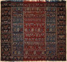 "Gallery - TextileAsArt.com, Fine Antique Textiles and Antique Textile Information  Antique Tat Zili, Baku district, eastern Transcaucasus.  Circa 1880 Size 91"" x 81"""