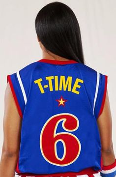 #6, T-Time is one of 11 females to play for the Harlem Globetrotters- get geared up with her official jersey.