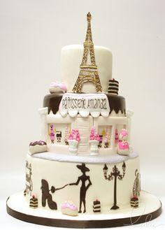 Beautiful Parisian cake by Lulu NYC Paris Birthday Cakes, Paris Themed Cakes, Paris Cakes, Cupcakes, Cupcake Cakes, Beautiful Cakes, Amazing Cakes, Parisian Cake, Bolo Paris