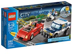 LEGO City Police High Speed Chase 60007 - Start a High Speed Chase through the streets of Lego City when the burglar escapes in his super fast sports car. He won't get far with the stolen cash when Chase McCain is on duty. Lego City Police Sets, Lego City Sets, Police Cars, Toys R Us, Legos, Modele Lego, Lego City Undercover, Lego Building Sets, Fast Sports Cars