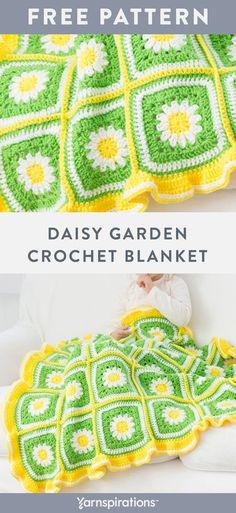 Free Daisy Garden Blanket crochet pattern using Red Heart Super Saver yarn. An inspired and delightful blanket that looks great and will please babies well into their toddler years. Add a ruffle border for a pretty finishing touch. #yarnspirations #freecrochetpattern #crochetthrow #crochetafghan #crochetblanket #redheartyarns #redheartyarn #redheartsupersaver