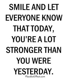 You get stronger and stronger each and every day. Whether you're quitting smoking, recovering from an eating disorder, getting over a failed relationship, or anything in between. Time is constantly working at healing your wounds, never forget that.