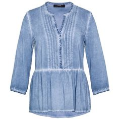 Hallhuber Ruffle blouse with cold-dye effect ($51) ❤ liked on Polyvore featuring tops, blouses, clearance, ice blue, long blouse, blue blouse, v-neck shirts, ruffle shirt and slim fit shirts