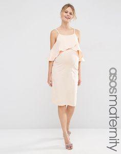 Image 1 ofASOS Maternity Midi Dress With Cold Shoulder