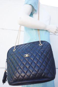 Sac bag porte epaule Simili Cuir Matelassé chaine dorée vintage 80 vtg Eighties