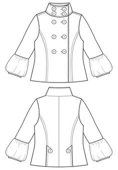 Flat Fashion Sketch – Coat 001