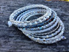 Layered Beaded Wrap Memory Wire Bangle by KimberlysCraftini, $25.00. SOLD!