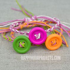 Easy DIY Button Friendship Bracelets #craft