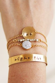 Alpha Phi Sorority Stack Bracelets