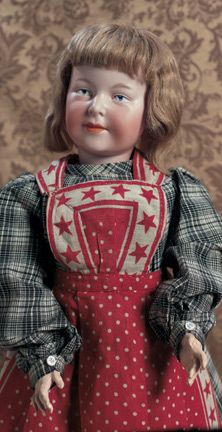 Extremely rare German bisque character by Armand Marseille, marked A.6 M, circa 1910. Distinctive facial modeling with highly characterized features. Antique costume.