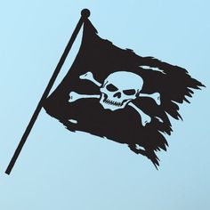 """Style and Apply Pirate Flag Wall Decal Size: 56"""" H x 46"""" W, Color: Turquoise"""