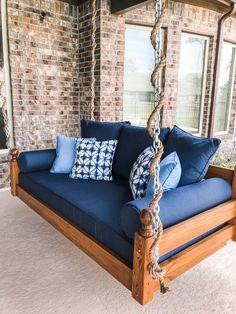 Indoor/Outdoor Swing: The West Ashley Swing Bed Porch Bed, Diy Porch, Patio Bed, Indoor Outdoor, Outdoor Sofa, Sunbrella Outdoor Cushions, Outdoor Swings, Outdoor Games, Outdoor Rooms
