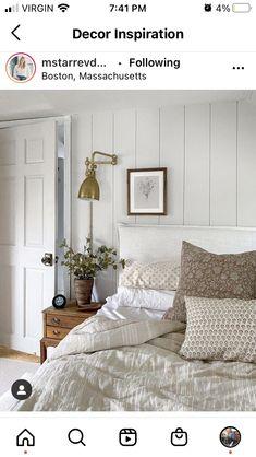 Cute Bedroom Ideas, Bedroom Inspo, Bedroom Decor, Small Master Bedroom, Dream Bedroom, Guest Bedrooms, Guest Room, Wainscoting Bedroom, Simple House
