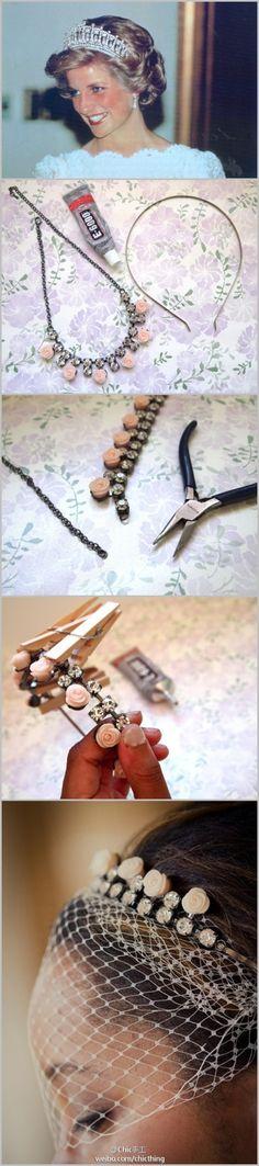DIY vintage tiara w/veil
