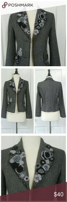 Hendi Tweed Blazer Hendi tweed blazer with felted crochet flower detail on lapels and pockets, distressed blanket stitch hems and decorative buttons. Fully lined. Fits more like XS. Varying shades of gray. Hendi Jackets & Coats
