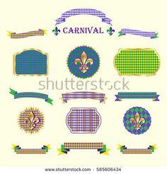 Ribbon and banners, label, ribbon bow tie, frames, vintage border, garland, pattern with fleur-de-lis carnival symbol set for Mardi Gras Carnival Festival, Masquerade Decoration. Set Vintage vector