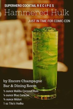 """2 Superhero Comic-Con Cocktail Recipes Encore Champagne Bar & Dining Room in San Diego's Gaslamp Quarter will be serving special Comic-Con cocktails. Make them at home with these recipes!"""", """"pinner"""": {""""username"""": """"lajollamom"""", """"first_name"""": """"La Jolla Mom Blue Curacao, Liquor Drinks, Cocktail Drinks, Beverages, Midori Cocktails, Drinks With Midori, Green Cocktails, Bourbon Drinks, Cocktail Ideas"""