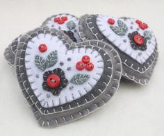 Handmade felt heart with applique and embroidery in red, white and grey, embellished with tiny buttons.A perfect Christmas gift or decoration .9cm x 8cm approx,