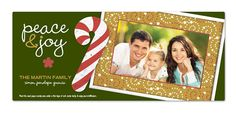 Custom Holiday Photo Cards : Peace & Joy card comes with a plantable seed paper candycane ornament that grows into wildflowers!