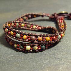 Red Creek Jasper Leather Double Wrap Bracelet- Two Strand Boho Leather Beaded Bracelet With Brass Button