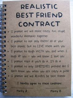 ReALiStiC Best Friend Contract – 5 x 7 journal – ReALiStiC Best Friend Vertrag – 5 x 7 Tagebuch – Related posts: ReALiStiC Best Friend Vertrag – 5 x 7 Tagebuch – … Bester Freund Vertrag – Tagebuch – Geschenke … Bff Quotes, Friendship Quotes, Funny Quotes, Friend Friendship, Usmc Quotes, Friendship Gifts, Bestfriend Goals Quotes, Funny Friendship, Bff Goals