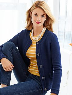 Browse our modern classic selection of women's clothing, jewelry, accessories and shoes. Talbots offers apparel in misses, petite, plus size and plus size petite. Mom Outfits, Modest Outfits, Cute Outfits, Work Fashion, Fashion Outfits, Womens Fashion, Business Casual Outfits, Classic Outfits, Sweater Jacket