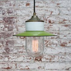 Vintage Industrial Green Enamel, Brass, Porcelain & Clear Glass Pendant Lamp for sale at Pamono Ceiling Canopy, Ceiling Lamps, Industrial Ceiling Lights, Lamps For Sale, Mason Jar Lamp, Brass Color, Vintage Industrial, Glass Pendants, Pendant Lamp