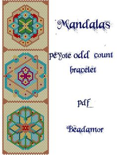 Peyote Pattern for bracelet: Mandalas - INSTANT DOWNLOAD pdf