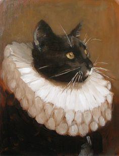 made by: Shauna Finn , 'Cartwheel Ruff' - (black cat) Face Chat, Art Inspo, Arte Peculiar, Art Mignon, Ouvrages D'art, Art Et Illustration, Illustrations, Renaissance Art, Aesthetic Art