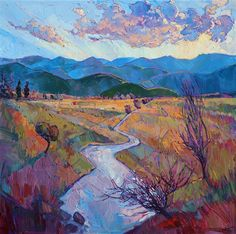 "Montana plains near Glacier National Park, painted in oils by Erin Hanson-""Winding Plains"""
