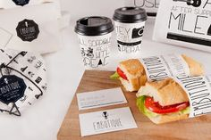 """Apetece!   """"Brand design and 'take-away' packaging for a Spanish food company in London.   The tradition of Spanish products fuses with a London """"hipster """"touch.   The font and illustrations represent the distinctive identity of the brand."""""""