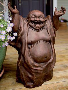 Laughing Buddha  Garden Statue - Acacia