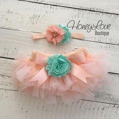 SET Peach tutu skirt bloomers diaper cover, mint/aqua flower headband bow, ruffles all around, newborn infant toddler little baby girl by HoneyLove Boutique