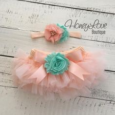 SET Peach tutu skirt bloomers diaper cover, mint/aqua flower headband bow, ruffles all around, newborn infant toddler little baby girl by HoneyLove Boutique