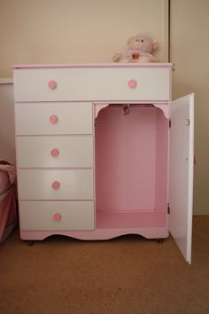 A pinner DIY'd this baby dresser/changing table into a dress up center for her little girl.  Great idea!