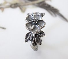 Rose Heirloom Flower Ring Handmade Sterling Silver by FavreBijoux, 95.00