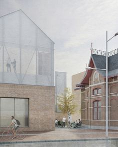 Kunstwerf Groningen, The Netherlands 2017 The new Kunstwerf is located in a former industrial zone, which. Architecture Collage, Architecture Graphics, Architecture Visualization, Architecture Drawings, Interior Architecture, Rendering Architecture, Architecture Diagrams, Stairs Architecture, Modular Structure