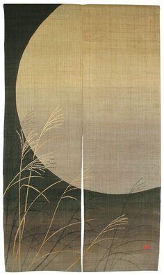"'Izayoi' Moon Reeds 100 Linenindigo Noren from KYOTO88X150CM or 34½"" x 59"" | eBay"