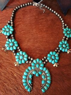 COWGIRL Bling SQUASH BLOSSOM Turquoise Southwestern NECKLACE #Unbranded #necklace