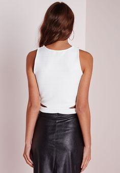 Missguided - Bandage Cut Out Crop Top White