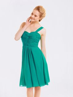 Knotted Ruche Chiffon One Shoulder Bridesmaid Dress