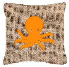 Octopus Burlap Indoor/Outdoor Throw Pillow