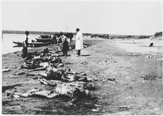 WWII. - 1945. - NDH - Jasenovac - Dr. Ante Preru, a forensic specialist, oversees the retrieval of the bodies of concentration camp victims from the Sava River near the Jasenovac concentration camp.