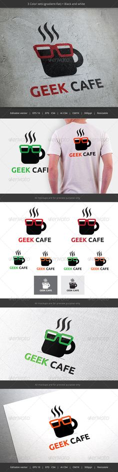 Geek Cafe Coffee Logo - Objects Logo Templates