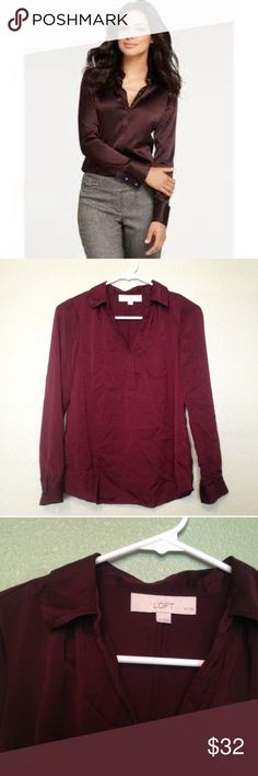 LOFT Maroon Blouse, Long Sleeve Ann taylor Xs petite maroon Ann Taylor LOFT polyester blouse. Wrinkles have been taken out via instructions on tag and is in awesome condition! The color is hard to photograph but so pretty. LOFT Tops Button Down Shirts