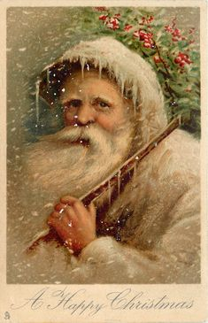 A HAPPY CHRISTMAS  head and shoulders of white robed Santa carrying stick over shoulder,  facing left, looking front