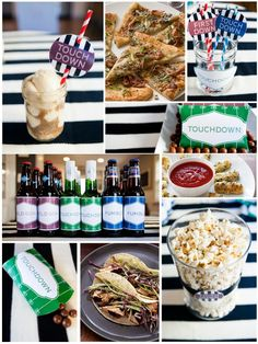 Fun and festive food, drink and décor ideas for the Super Bowl with FREE downloadable Bottle Covers, Circle Labels, Candy Boxes, and Menu Cards