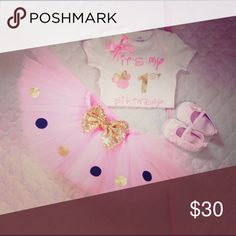 Minnie Mouse birthday set and gold Pink birthday Minnie set gold Other